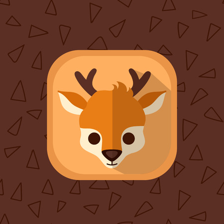 baby deer: Little baby deer flat icon. Forest animal with simple seamless triangle brown pattern at the background. Perfect for app design, motion graphics and as a design element