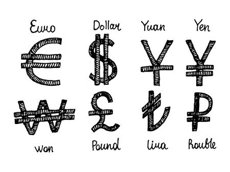 lira: Euro, dollar, yuan, yen and won with pound lira and rouble. finance business symbols