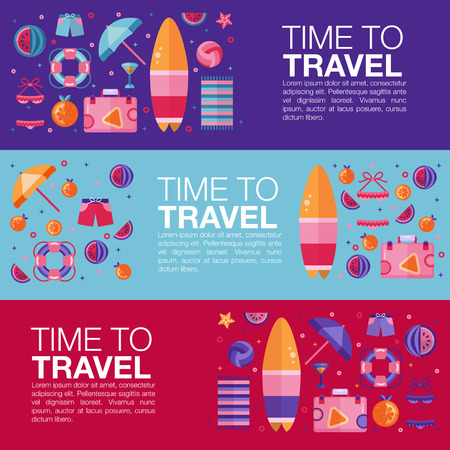 coctail: Time to travel template. Surfboard, Suitcase, orange and watermelon fruit slices, starfish, lifebuoy, book, beach towel, swimsuit and coctail, umbrella. Travel kit flat lay