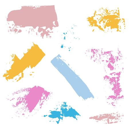 palette knife: Palette knife color  blots. Easy to use isolated  design elements. With pretty pink, blue, yellow pastel colors
