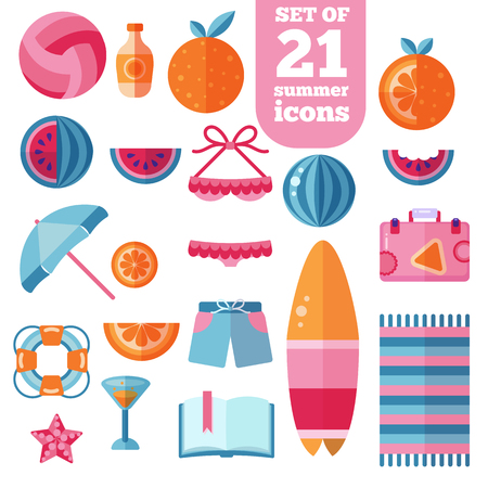 suncream: Beach flat icon set. Orange, watermelon fruit icons, suncream swimsuit suitcase surfboard lifebuoy, beach towel, volleyball ball, book and more.