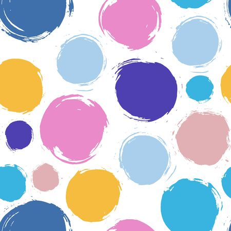 dry brush: Abstract colorful circles seamless pattern. Created with dry brush