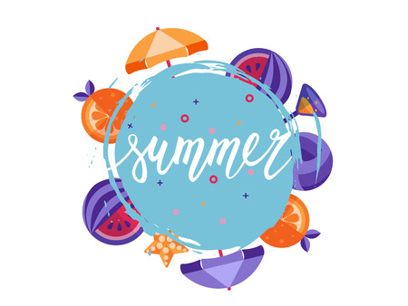 hand lettering: Summer vector hand lettering with vignette of orange and watermelon.