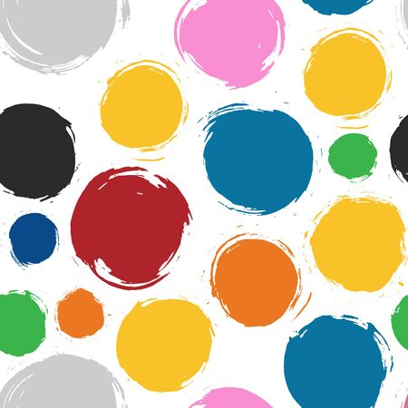 Abstract colorful circles seamless pattern. Created with dry brush
