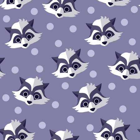 pastel colored: Pastel colored fabric for children. Raccoon seamless vector pattern