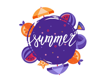 hand lettering: Summer vector hand lettering with dry brush circle Illustration