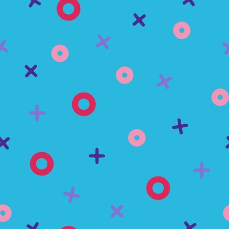 tack: Tick ??tack toe seamless vector pattern and digital blue paper