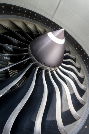 Close up of jet engine on commercial aircraft Stock Photo