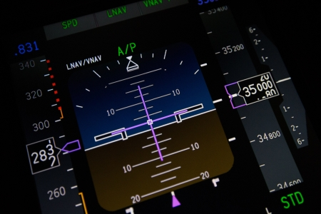 Primary flight display in commercial aircraft Stock Photo