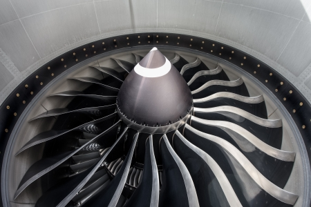 aeronautical: Close up of jet engine on commercial aircraft Stock Photo