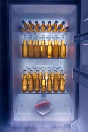 refrigerador: Nevera llena de cerveza fría con una zanahoria solitaria