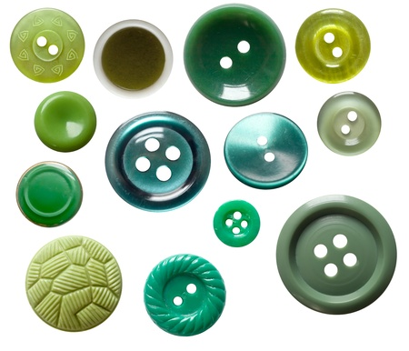 Set of isolated green buttons