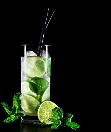 Mojito cocktail on black background with lime and mint with copy space photo