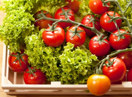 Tomatoes and salad in  wooden basket on the table photo