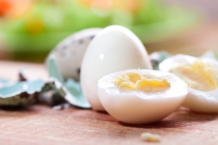 Boiled quail eggs photo
