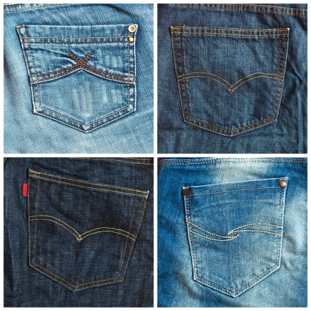 Set of jeans pockets backgrounds