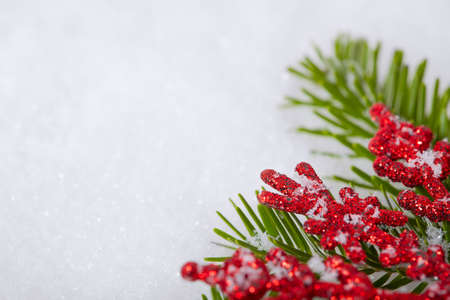 Christmas white seasonal background with snow, red decorations and spruce