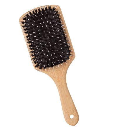 Wooden hairbrush isolated Stock Photo