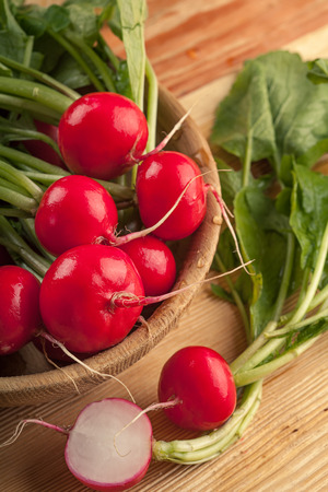 Fresh red radishes Stock Photo