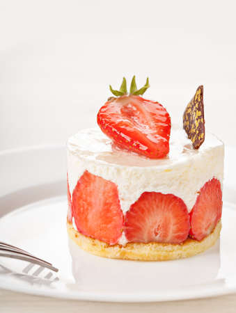 White cake with raspberry