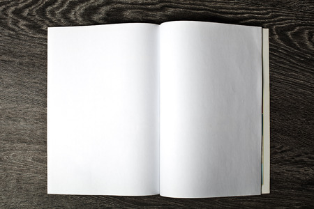 Open magazine with blank pages photo