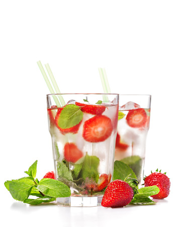 Strawberry mojito  fresh summer berry cocktail drink