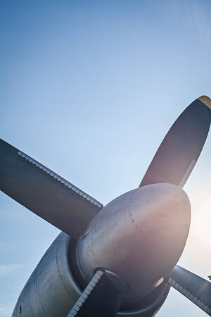 Airplane retro vintage propeller detail on blue sky
