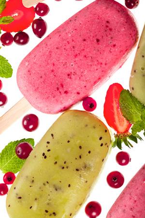 Popslices icecream bright assortment on white background