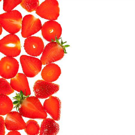 Strawberry slices bright isolated fresh red background