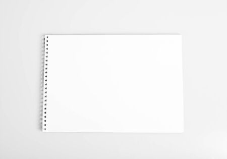 Open album with blank white pages mockup Stock Photo