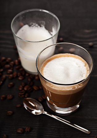 cortado: Cortado cappucino hot coffee drink in glass Stock Photo
