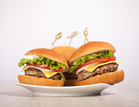 Fresh mini burger served meal on table Stock Photo