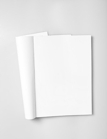 page: Open magazine with blank white pages mockup Stock Photo