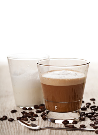 cortado: Cortado cappucino hot coffee drink in glass Stock Photo