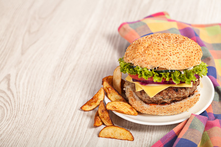 Fresh burger fast lunch  meal on table Stock Photo
