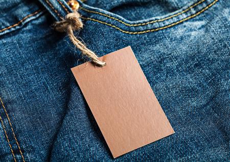 Cloth label tag blank brown mockup