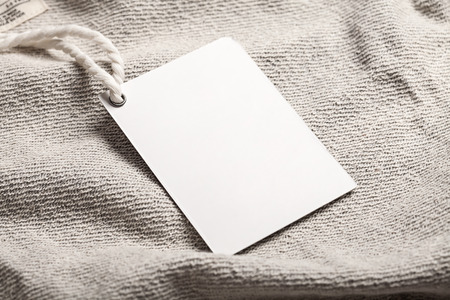 Cloth label tag blank white mockup Stock Photo