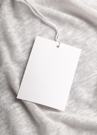 tag: Cloth label tag blank white mockup Stock Photo