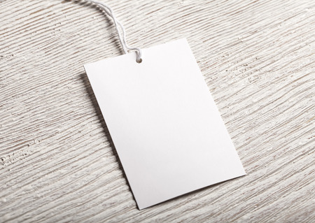 white clothing: Cloth label tag blank white mockup Stock Photo