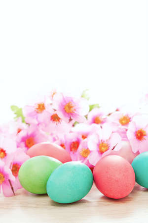 Color easter eggs and flowers spring background