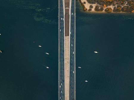 Aerial  landscape with yachts on river Stock Photo