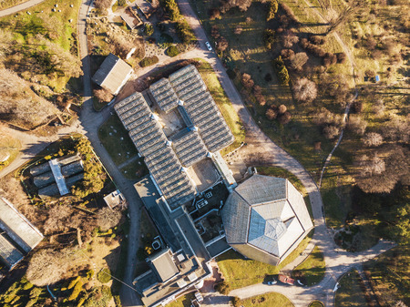Botanical garden orangery drone aerial view in spring