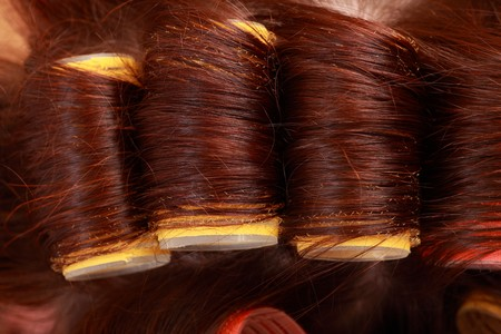 close-up of curlers in hair