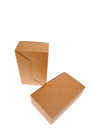 Two Brown cardboard box, Isolated on white.  photo