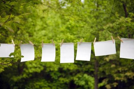 blank paper sheet hanging on a rope outdoor photo