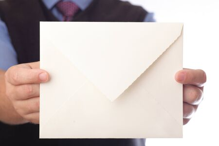 Businessman showing envelop. You can just add your text there.