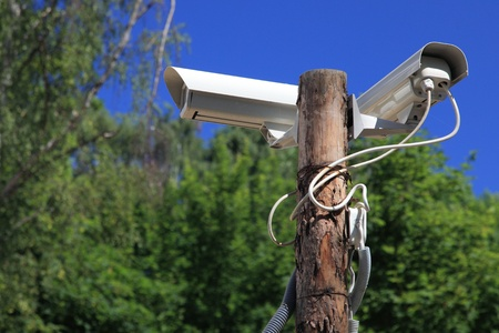 Security cameras outdoors nature, Secure area - industrial monitoring
