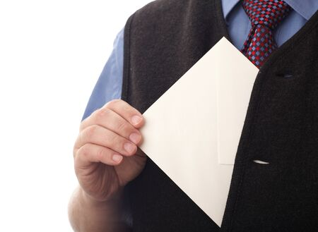 envelop: Businessman showing envelop. You can just add your text there.