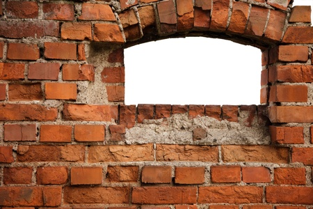 Red old brick framework with white window Stock Photo - 9050989