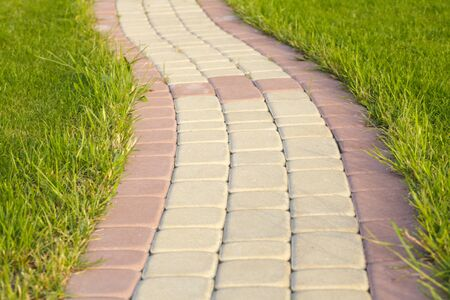 Garden stone path with grass growing up between and around stones, Brick Sidewalk  Stock Photo